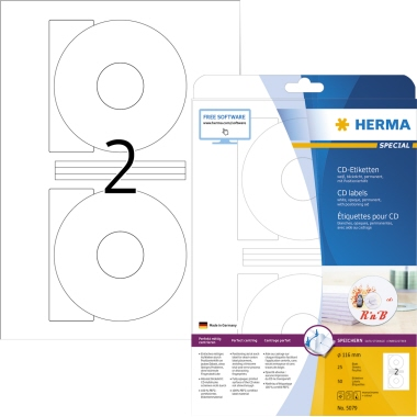 Herma Etikett CD/DVD 116mm weiß, 50 Stk.
