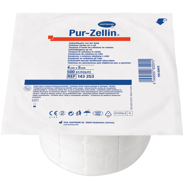 Pur Zellin Zellstofftupfer 4x5cm steril, 500 Stk.