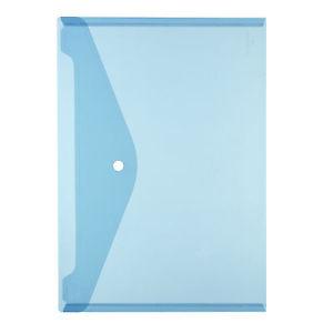 Dokumententasche DIN A4 blau transparent mit Druckknopf