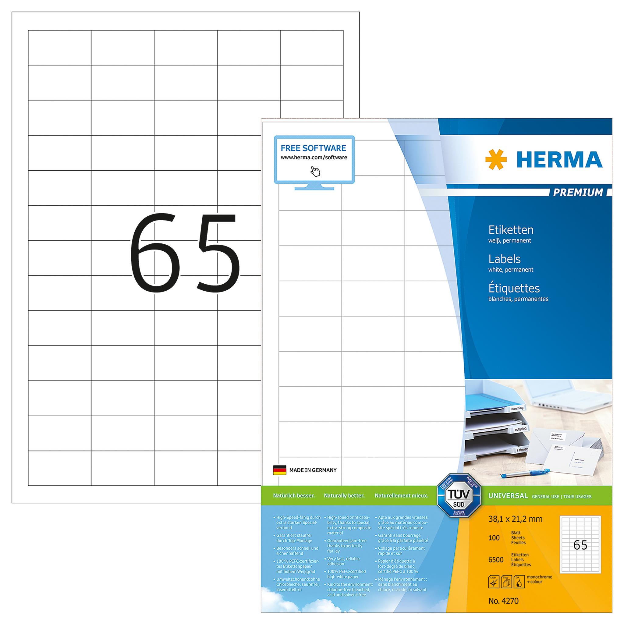 Herma Etiketten 38,1x21,2mm weiß Nr.4270, 6500 Stk.