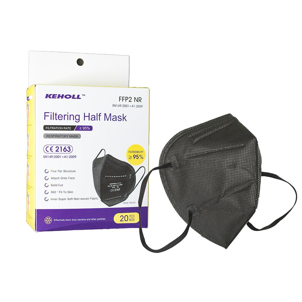 Keholl FFP2 Masken schwarz einzeln verpackt, 20 Stk.